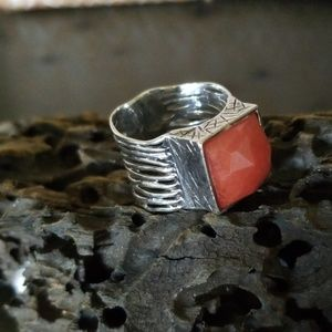 Silpada .925 Sterling Silver & Cherry Crystal Ring